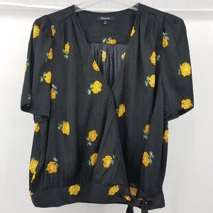 Madewell Black Wrap Blouse with Yellow Flowers